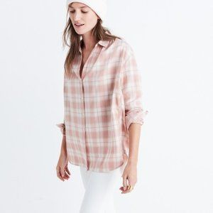 Madewell Central Plaid Shirt in Pink S